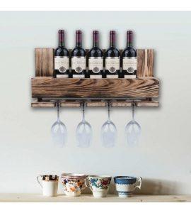Vinobarto freja - brændt vinhylde til vin og glas - lille model