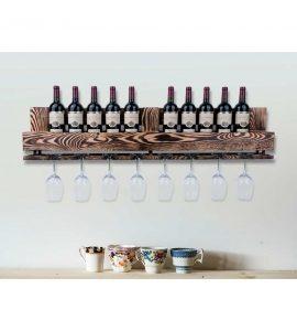 Vinobarto odin - brændt vinhylde til vin og glas - stor model