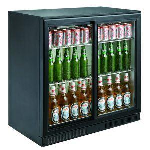 Backbar - Barkøleskab - 2 låger / skydedøre - Sort