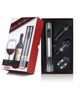 Klassisk elektrisk proptrækker gavesæt - sølv