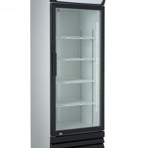 Displaykøleskab - Hvid/Sorte døre - 360 liter